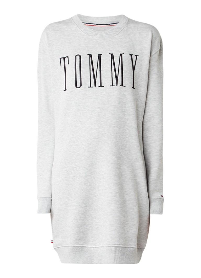 Tommy Hilfiger Sweater jurk met geborduurd logo lichtgrijs