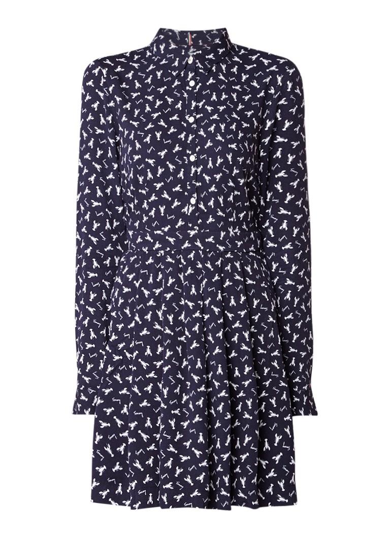 Tommy Hilfiger A-lijn blousejurk met kreeftendessin donkerblauw