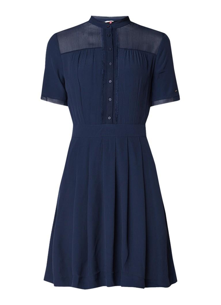 Tommy Hilfiger Midi-jurk met gerafelde boorden middenblauw