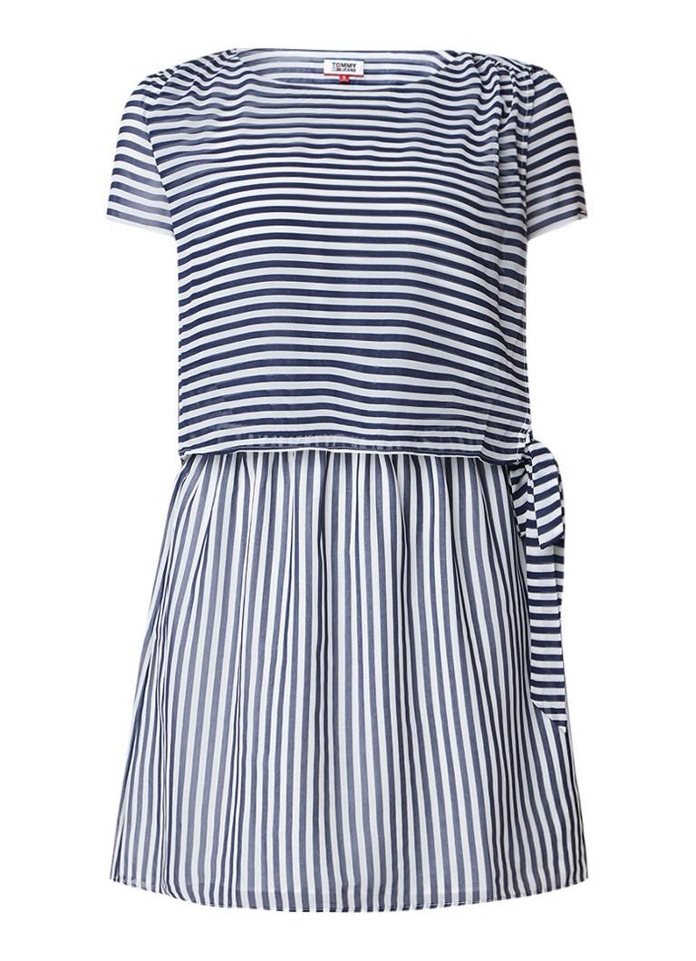 Tommy Hilfiger Semi-transparante mini-jurk met streepdessin donkerblauw
