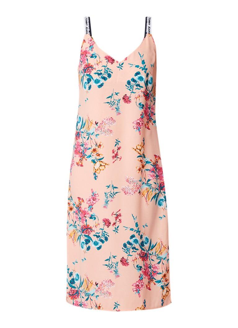 Tommy Hilfiger Midi-jurk met bloemendessin en logobandjes zalmroze