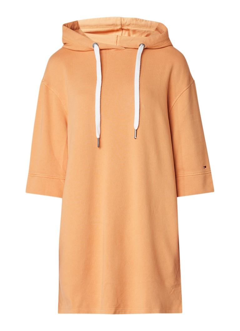 Tommy Hilfiger Loose fit sweaterjurk met capuchon en logoprint oranje