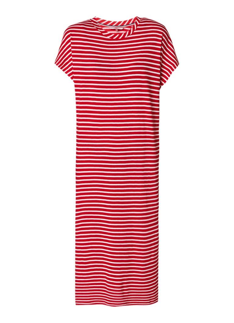 Tommy Hilfiger Jersey jurk met streepdessin en split rood