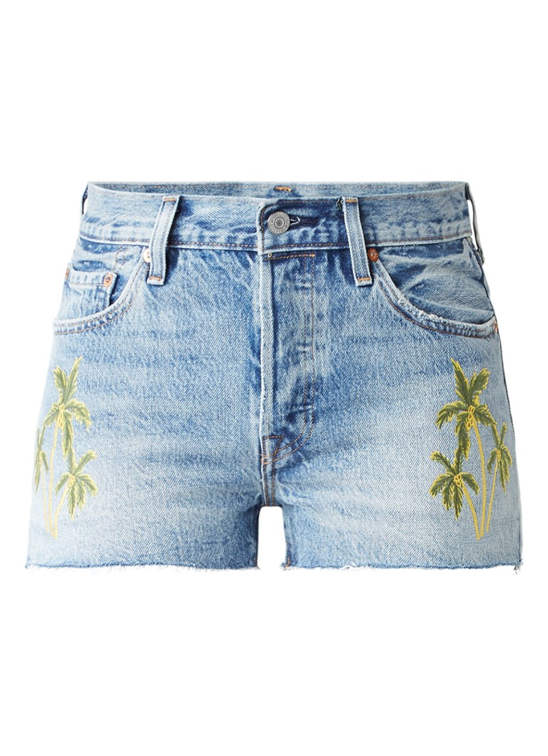 Levi's 501 high rise jeans shorts met broderie