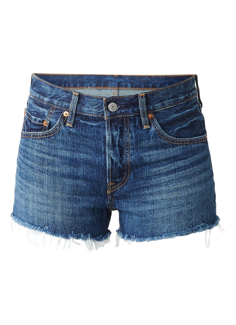 Levi's 501 shorts van denim met gerafelde zoom