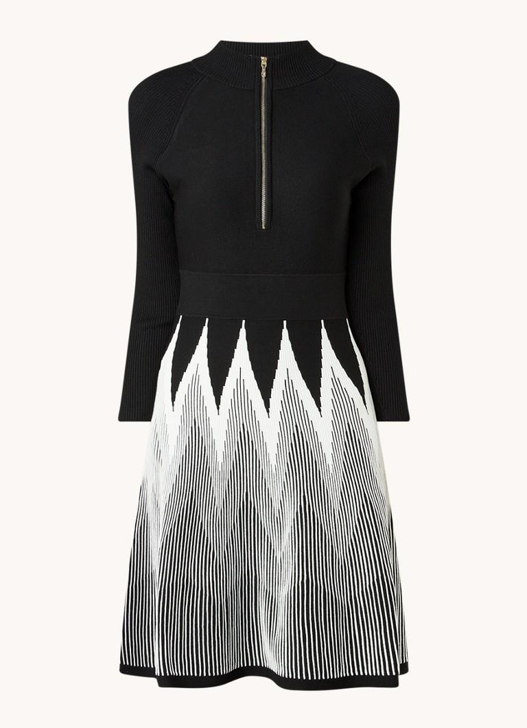 Adela fijngebreide mini jurk met grafische print