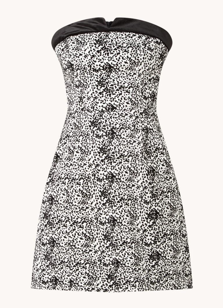 Ally strapless mini jurk met flockprint en fluweel