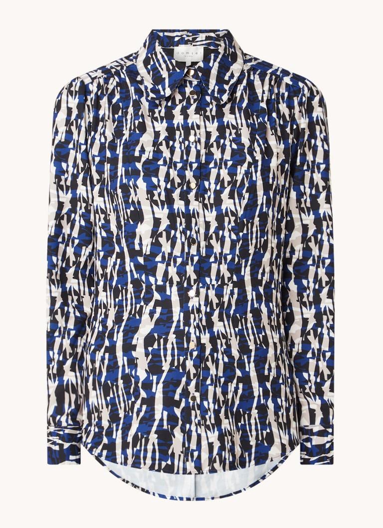 Avaline blouse met pofmouw en grafische print