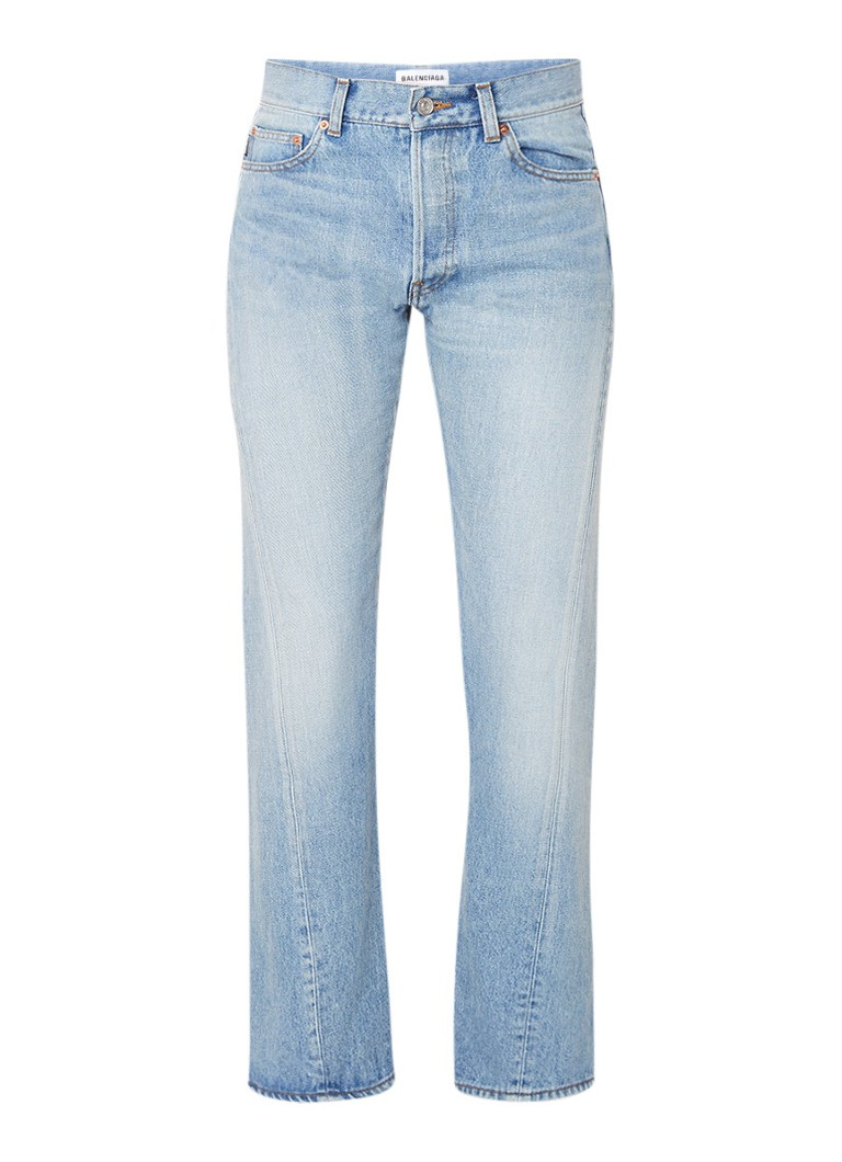 Balenciaga Twisted mid rise straight fit jeans met lichte wassing