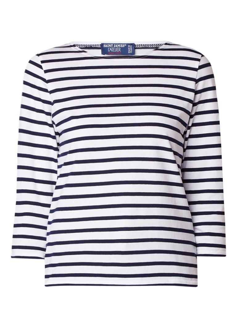 Saint James Galathee T-shirt met driekwartsmouw en streepdessin