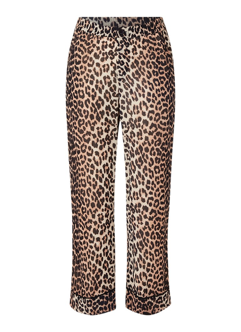 Image of Ganni Mullin Georgette palazzo broek van chiffon met luipaarddessin