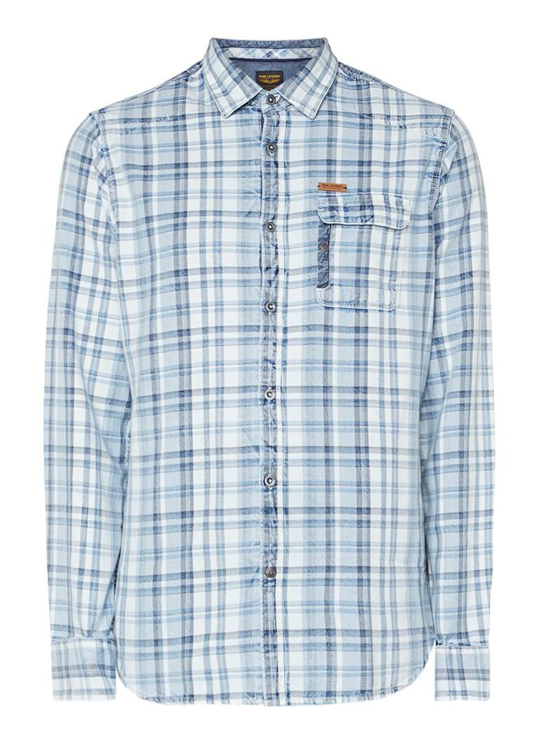 PME Legend Overhemd met ruitdessin en borstzak