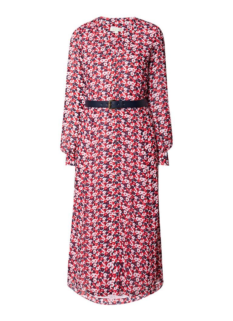Michael Kors Carnation jurk van crêpe met ceintuur rood