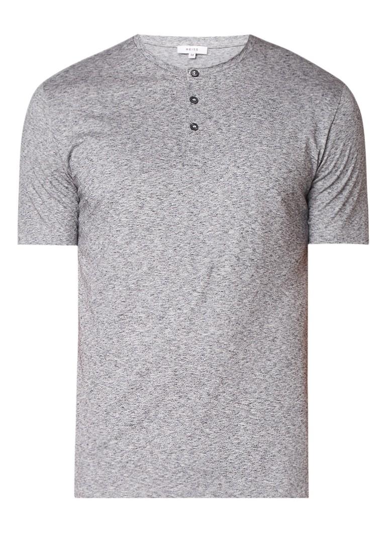 Reiss Monkwel-Henley gemêleerd T-shirt met knopen