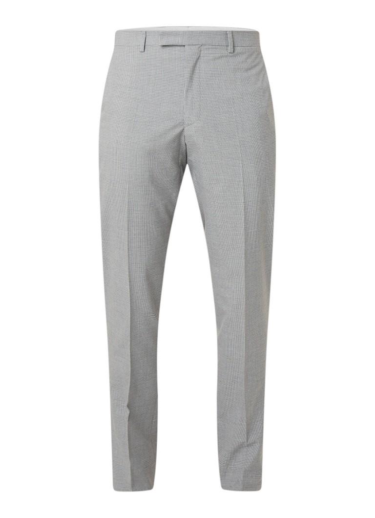 Reiss Gilly slim fit pantalon met micro ruitdessin