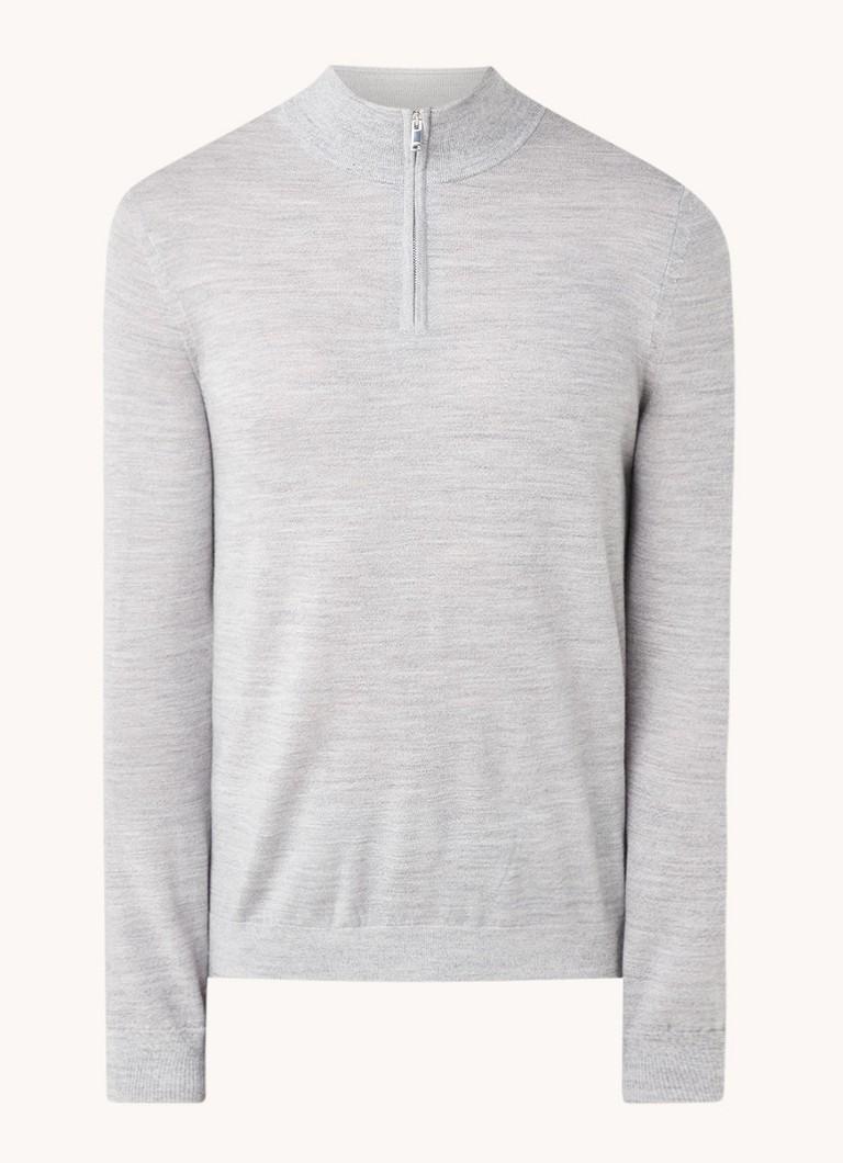 Reiss Blackhall fijngebreide pullover van wol met halve rits