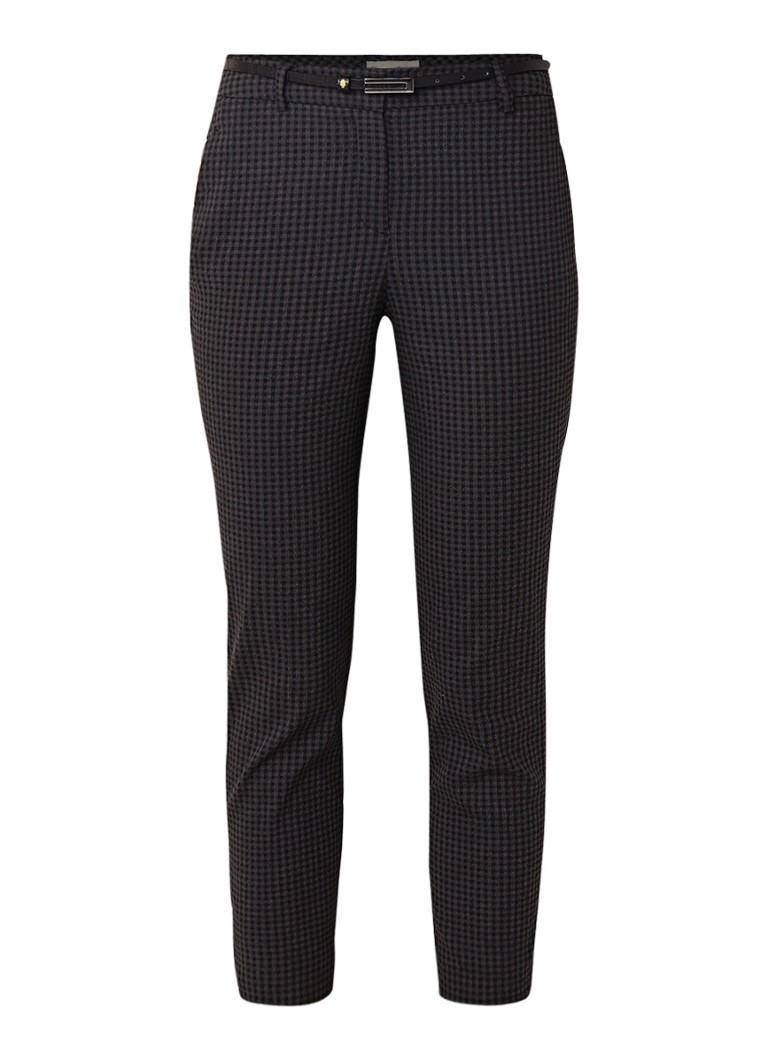 Image of Phase Eight Carolyn skinny fit cropped pantalon met micro ruitdessin