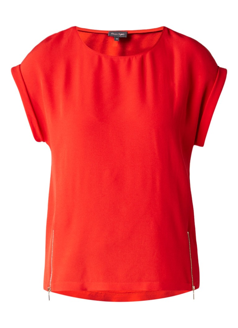 Phase Eight Maddy boxy top met ritsdetails wit