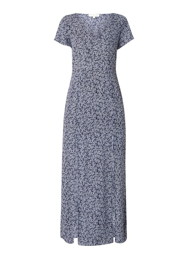 Michael Kors Loose fit maxi-jurk met dessin en splits donkerblauw