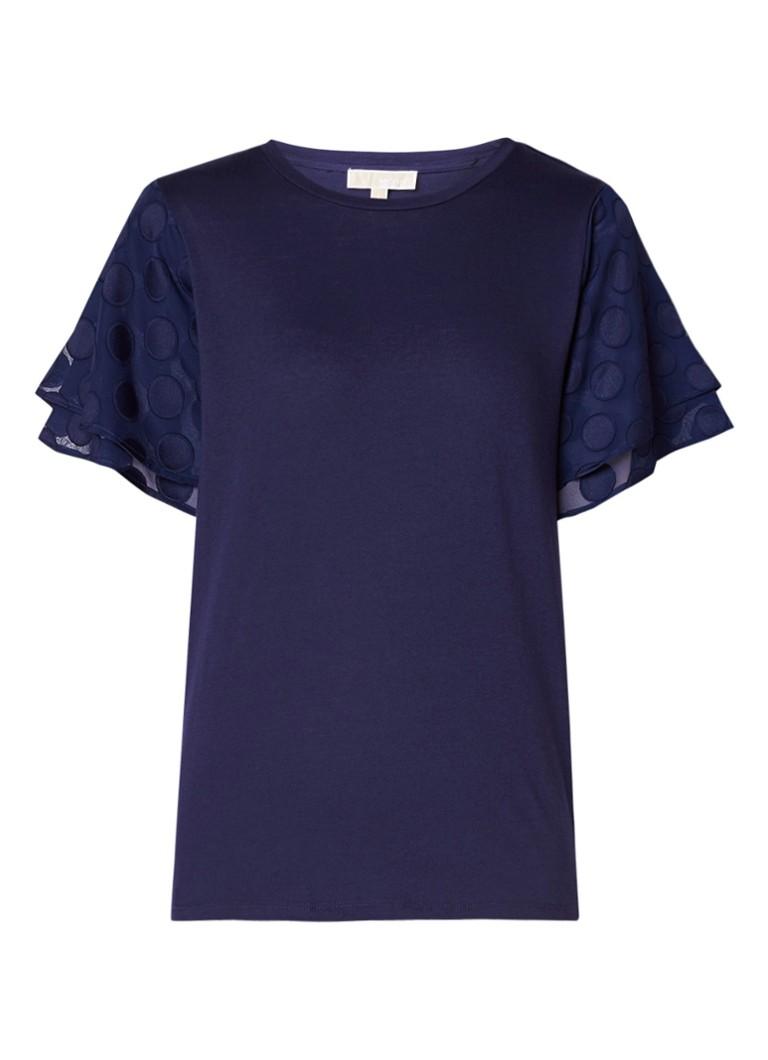 Michael Kors T-shirt met semi-transparante volantmouw