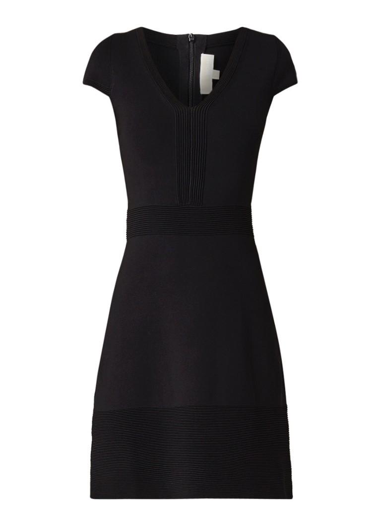 Michael Kors Fijngebreide A-lijn jurk met V-hals zwart