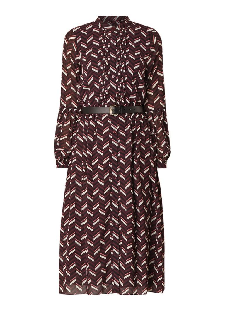 Michael Kors Cordovan midi-jurk met grafisch dessin en ceintuur aubergine