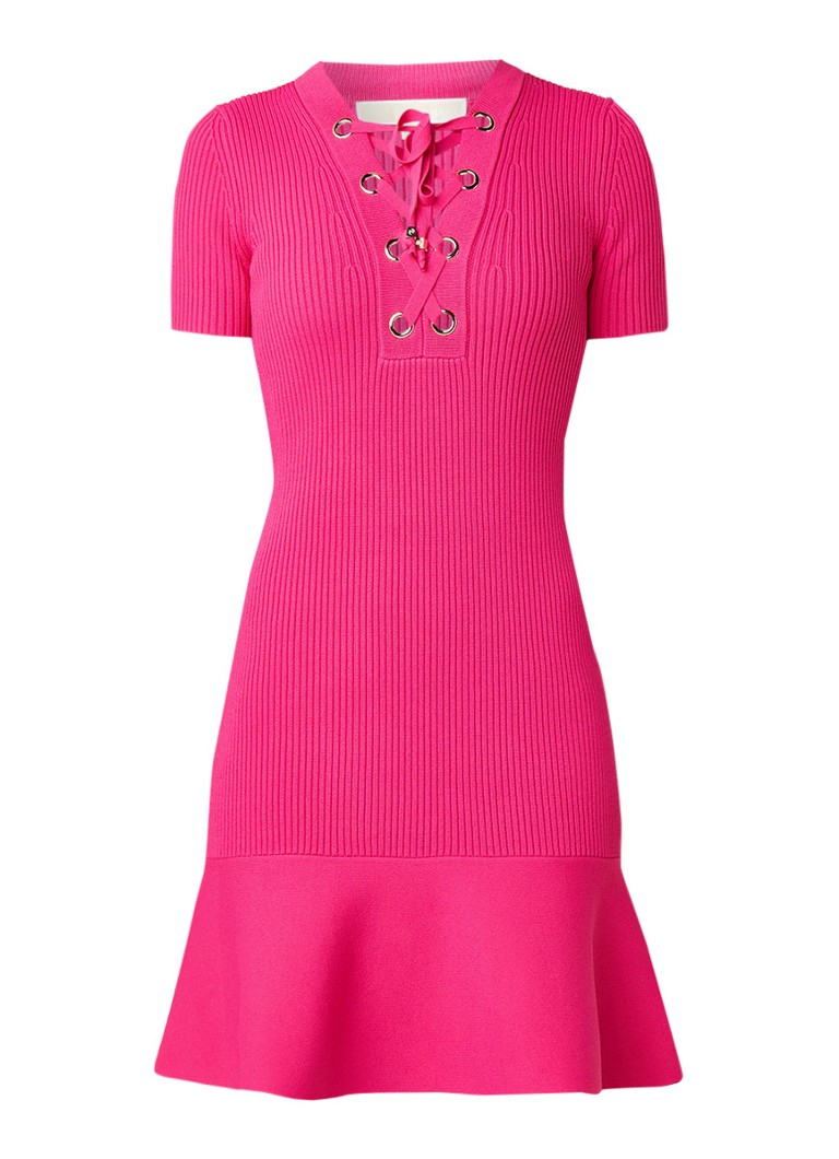Michael Kors Gebreide jurk met rijgdetail donkerroze