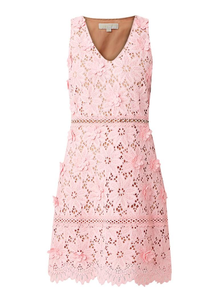 Michael Kors Midi-jurk van gebloemd kant met V-hals lichtroze
