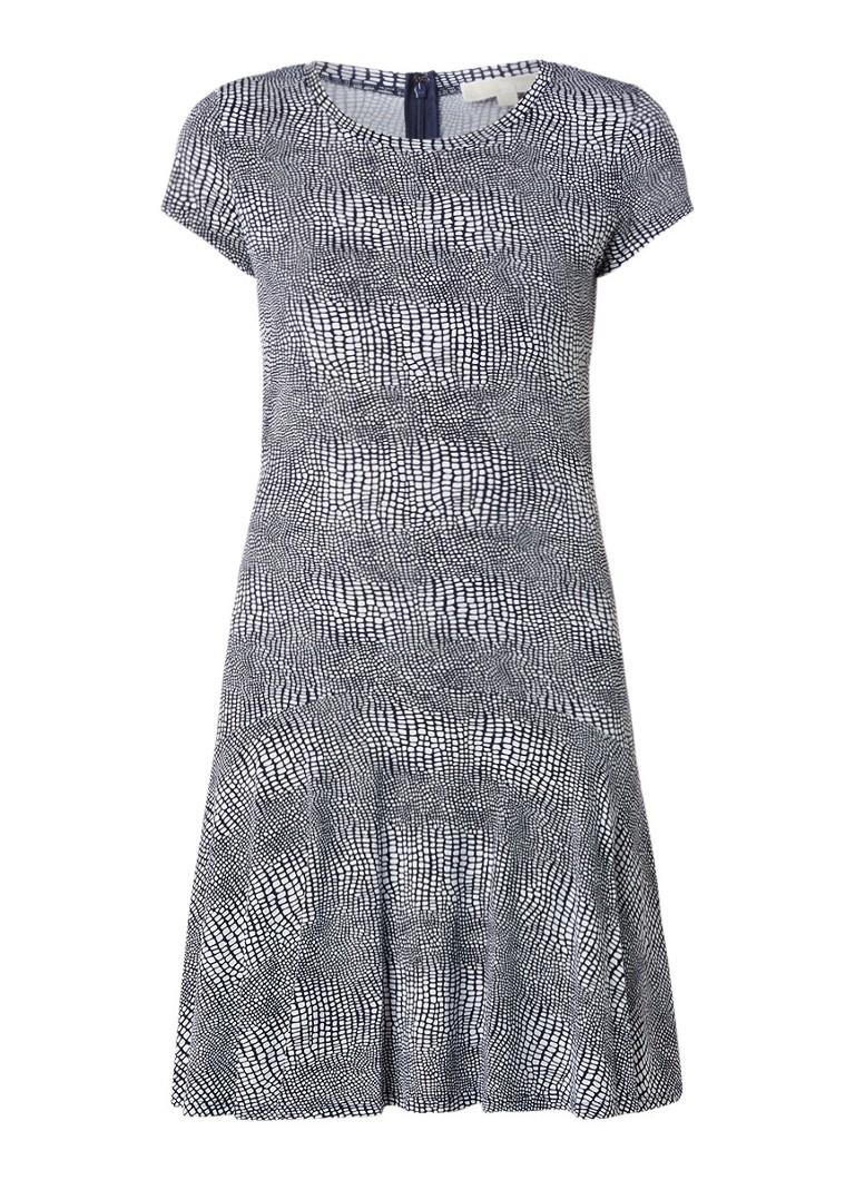 Michael Kors Zephyr jersey A-lijn jurk met dessin donkerblauw