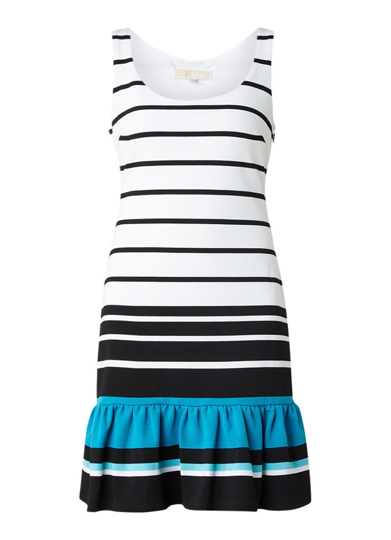 Michael Kors Gestreepte jurk met ribstructuur en volant donkerblauw