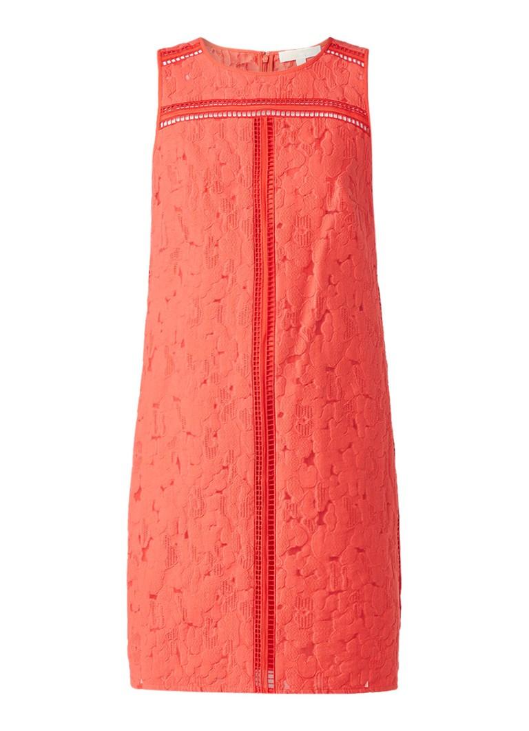 Michael Kors Lenus jurk met jacquarddessin en opengewerkte details koraalrood