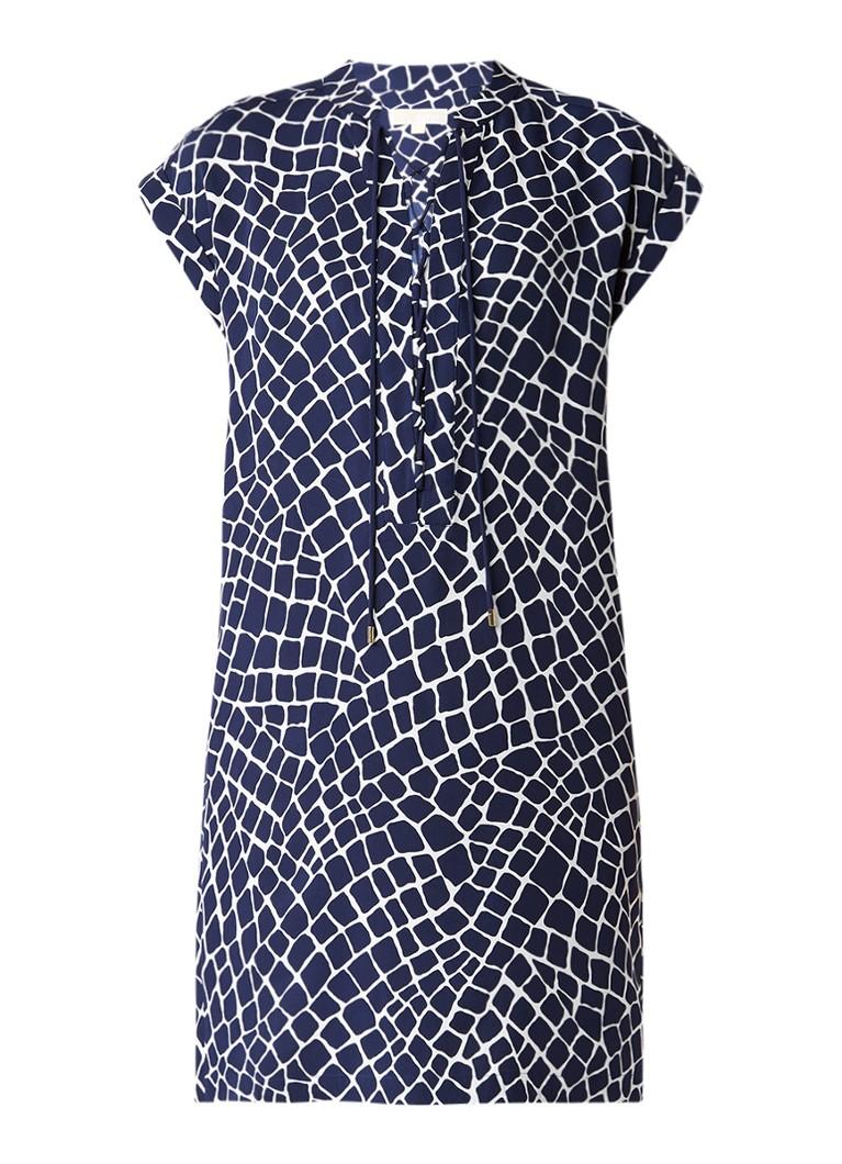 Michael Kors Nyla tuniekjurk van zijde met veterdetail en dessin donkerblauw