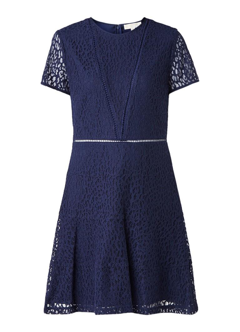 Michael Kors Yala A-lijn jurk van kant met broderie donkerblauw