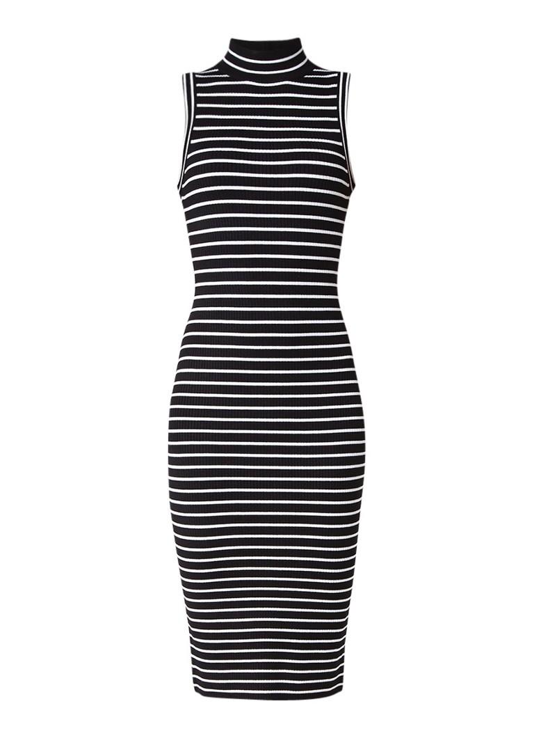 Michael Kors Ribjersey mouwloze jurk met streepdessin zwart