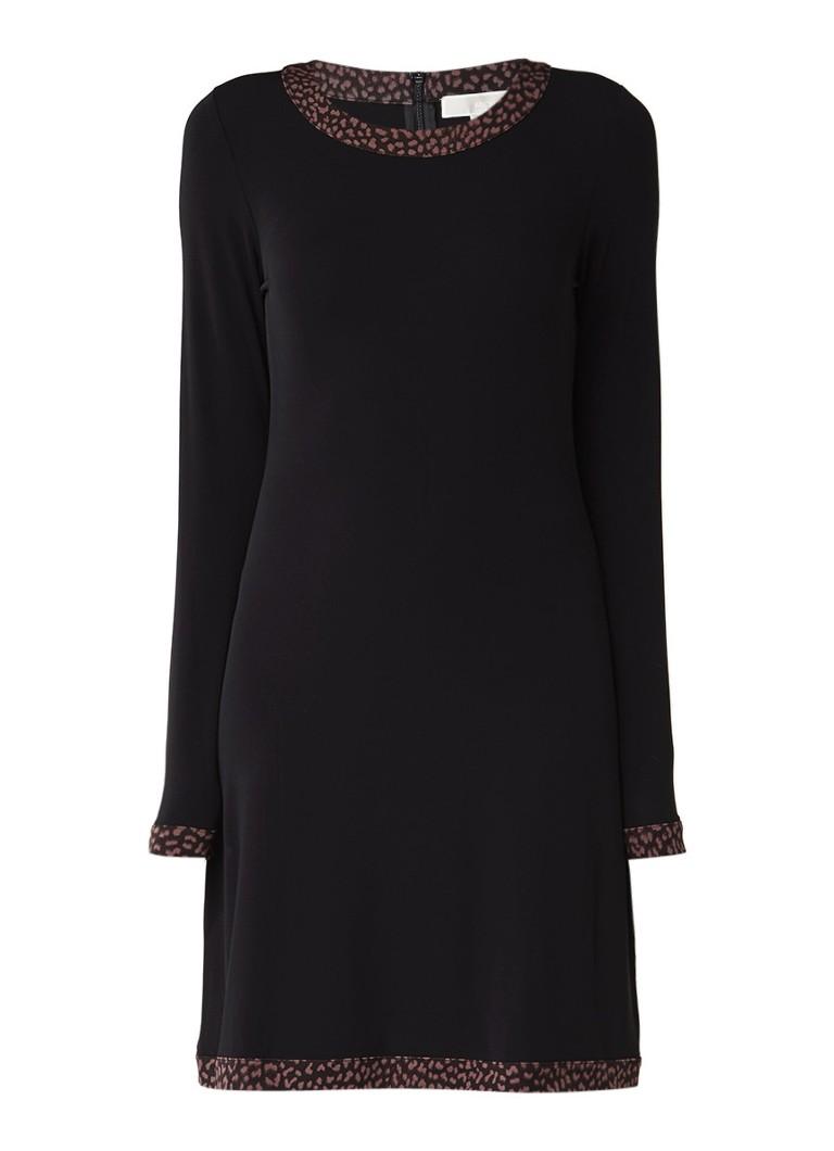 Michael Kors Midi-jurk met contrasterende cheetah bies zwart