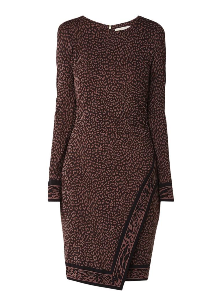 Michael Kors Bodycon jurk met overslag en luipaarddessin bruin