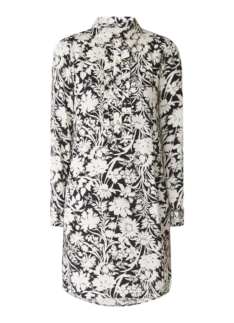 Michael Kors Midi-jurk van zjide met ruches en bloemendessin zwart