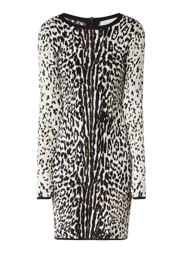 Michael Kors Bodycon jurk met ingebreid luipaarddessin beige