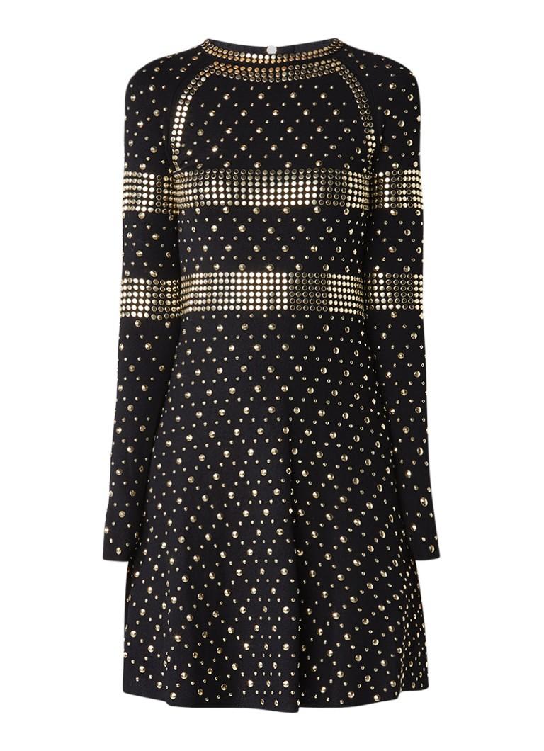 Michael Kors Midi jurk met lange mouw en studs zwart