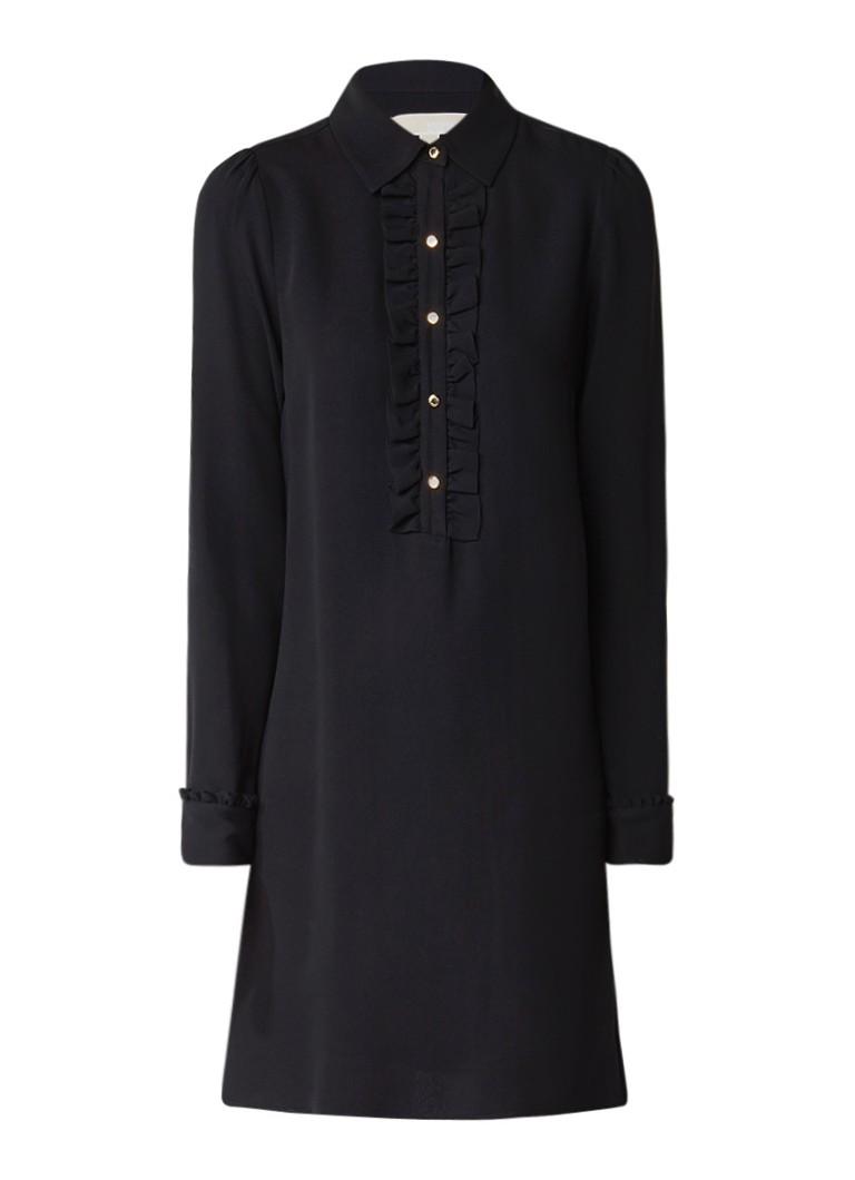 Michael Kors Midi-jurk van zijde met ruches zwart