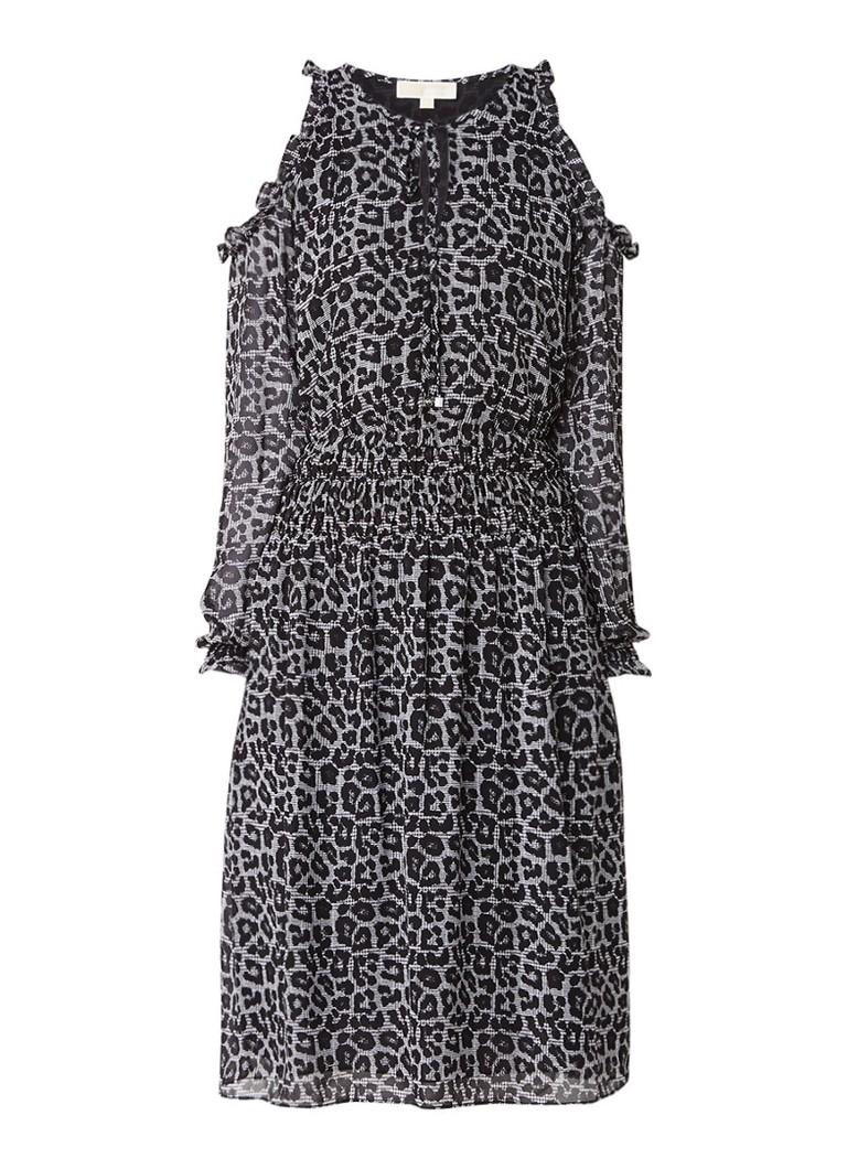 Michael Kors Cold shoulder tuniekjurk van crêpe met luipaarddessin zwart