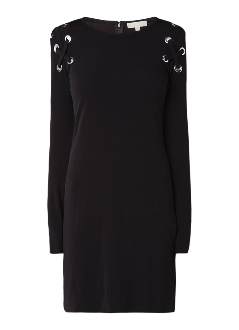 Michael Kors Midi-jurk met eyelets en rijgdetails zwart