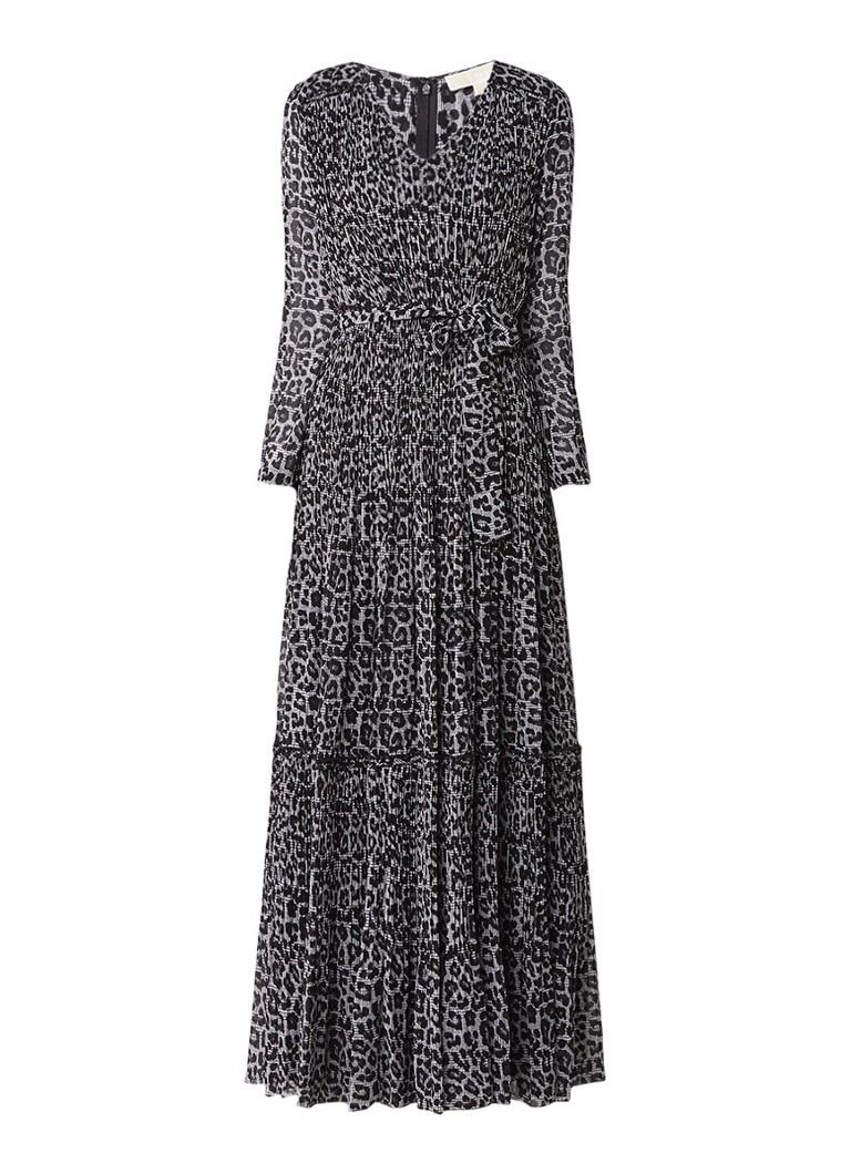 Michael Kors Maxi jurk van crêpe met luipaarddessin zwart
