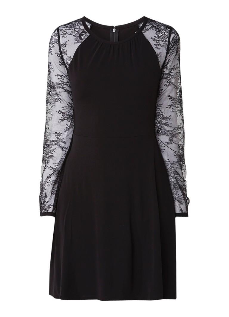 Michael Kors A-lijn jurk van crêpe met inzet van kant zwart