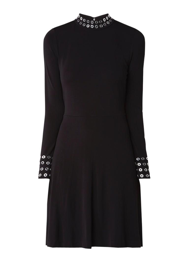 Michael Kors Jersey jurk met col en sierknopen zwart