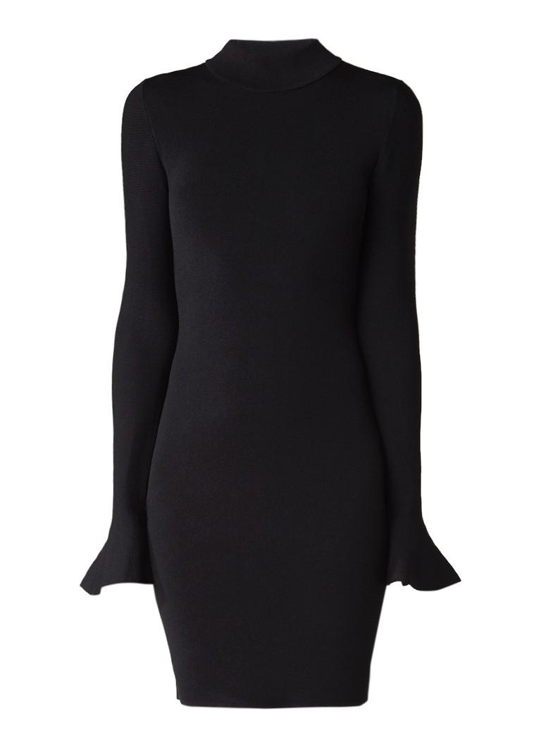 Michael Kors Gebreide jurk met col en volantmouw zwart