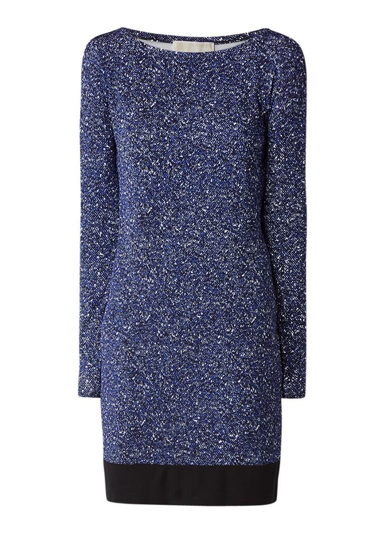 Michael Kors Tweed Border jersey jurk met gemêleerd dessin royalblauw