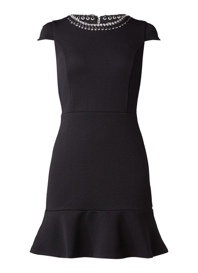 Michael Kors A-lijn midi-jurk met kapmouw en kettingdetail zwart