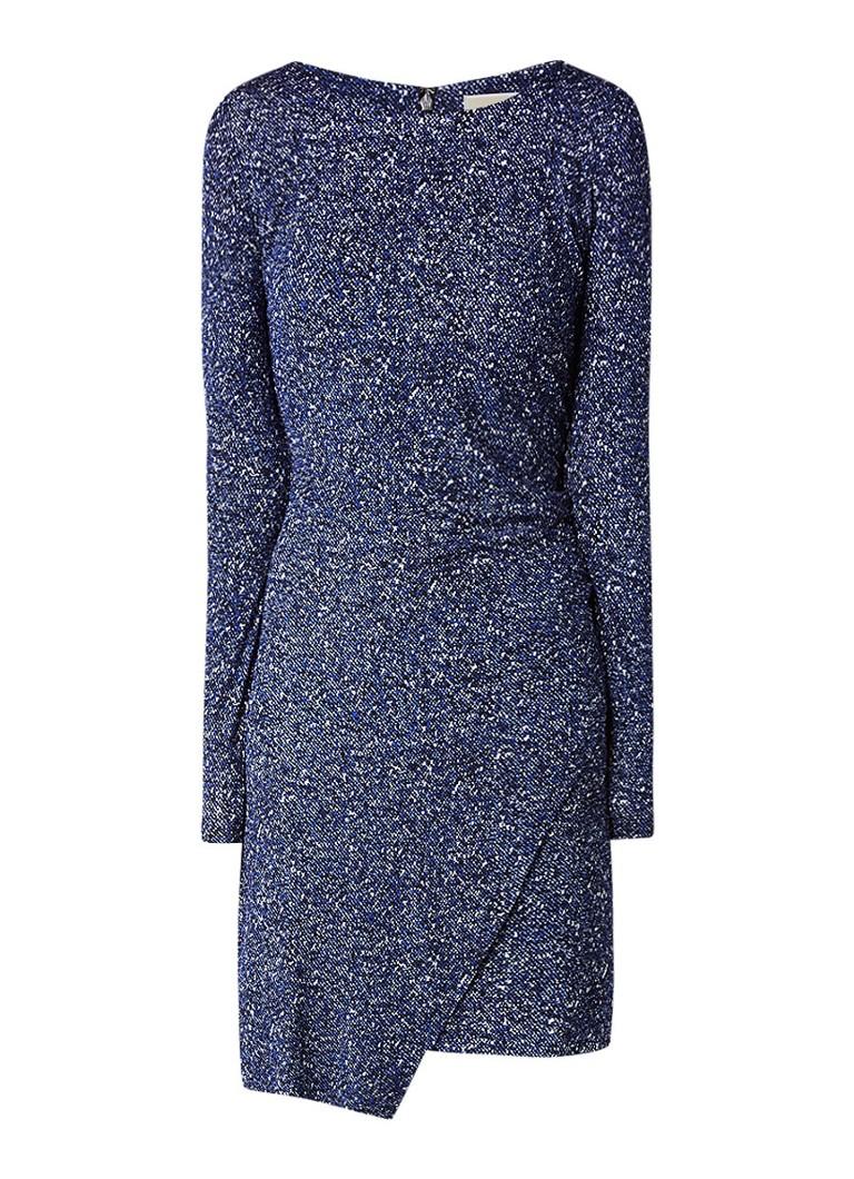 Michael Kors Tweed Border jersey midi-jurk met overlay royalblauw