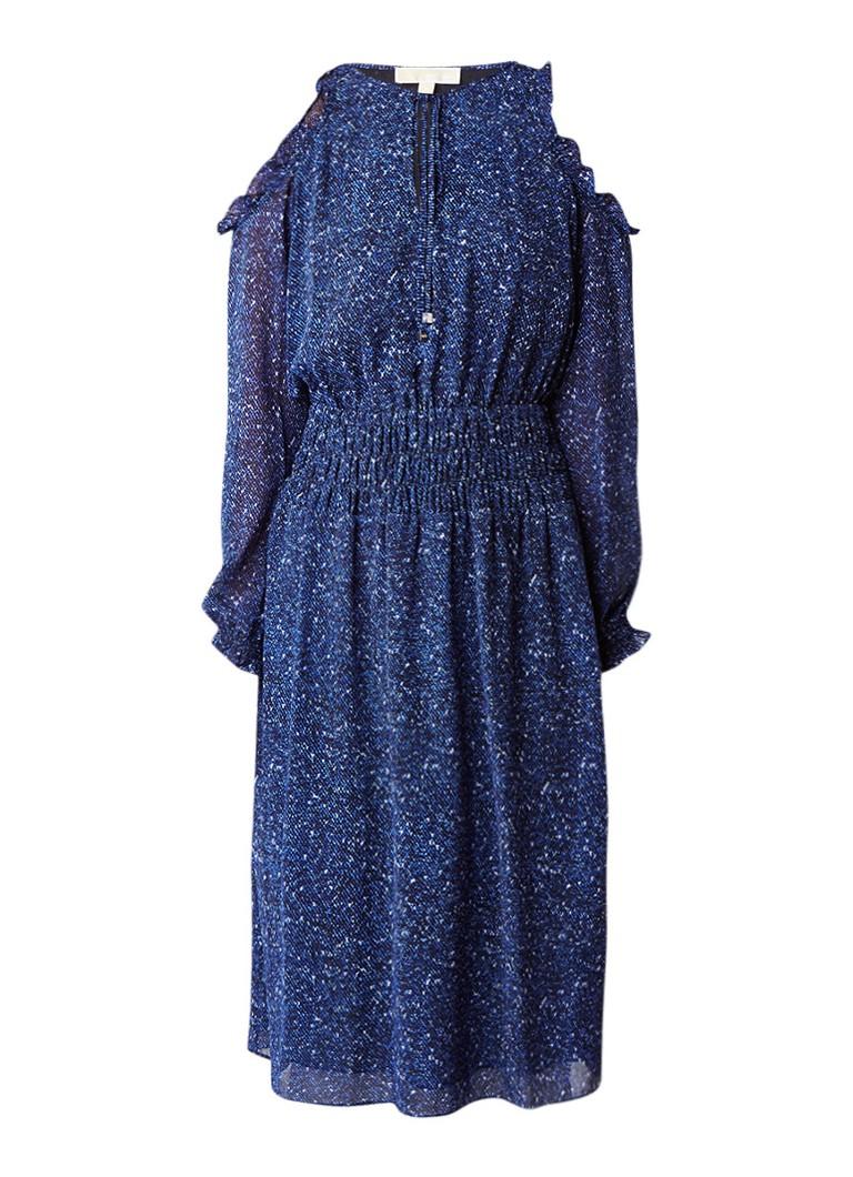 Michael Kors A-lijn jurk met cold shoulder en print royalblauw